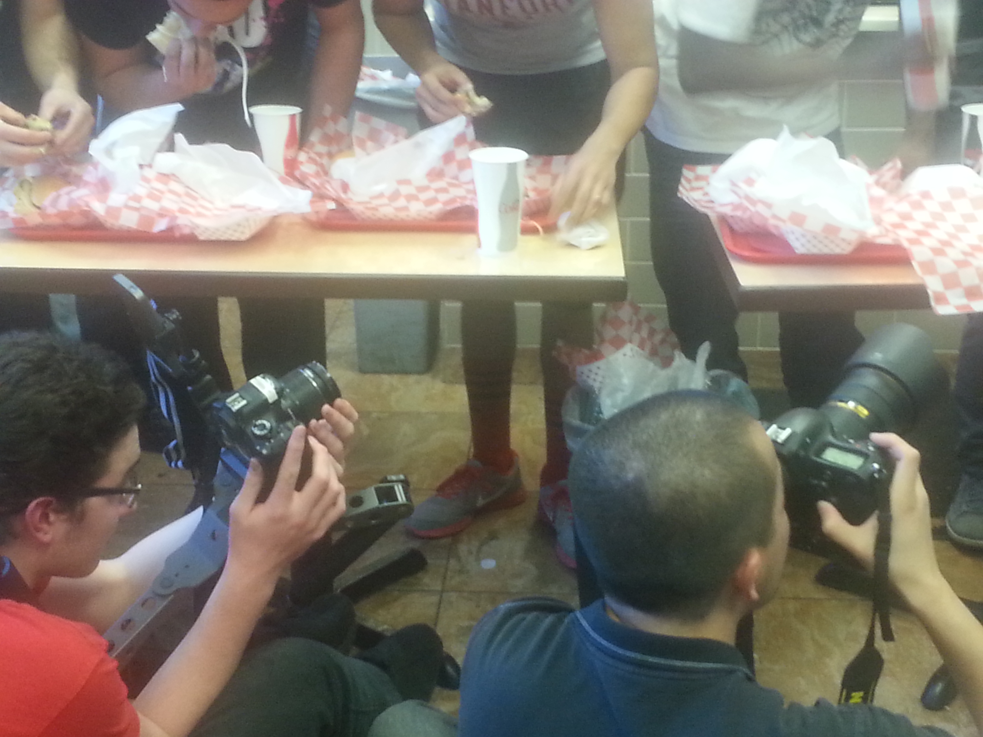 The press photographing our Burger Eating Contest.